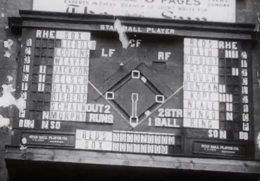 1919 mechanical play -by-play scoreboard